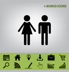 Male and female sign black icon at gray vector