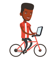Man riding bicycle and working on a laptop vector