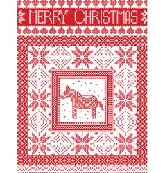 Merry christmas card with dala horse vector