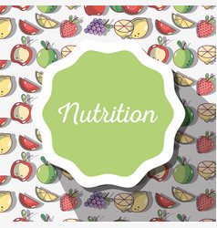 Nutrition symbol emblem with fruits background vector