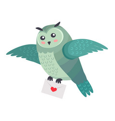 owl bird flying with letter of love with heart vector image