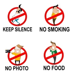 Prohibitory signs in cartoon style vector image