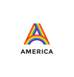 rainbow letter a and text america vector image vector image