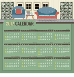 Reading Room 2017 Printable Calendar Starts Sunday vector image vector image