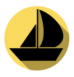 Sail boat sign flat black icon with flat vector