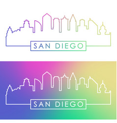 San diego skyline colorful linear style vector