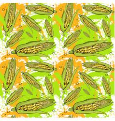 Seamless pattern corn vegetables ornament vector