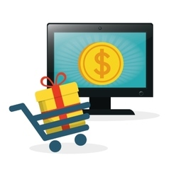 Shopping online laptop cart gift coin gold vector