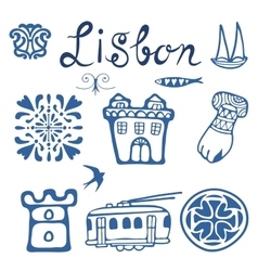 Stylish Portugal typical icons collection vector image