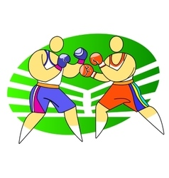 Two boxers fighting vector image vector image
