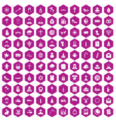 100 church icons hexagon violet vector