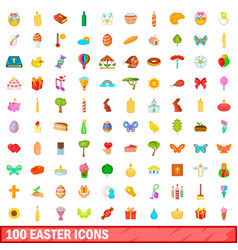 100 easter icons set cartoon style vector image