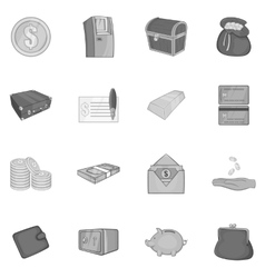 Banking icons set in black monochrome style vector image