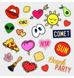 Fashion patch badges big set stickers pins vector