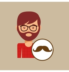man bearded hipster and mustache icon vector image