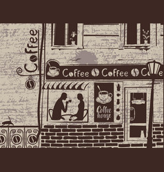 urban landscape with coffee house and love couple vector image