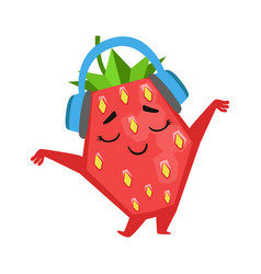 happy funny strawberry dancing and listening to vector image