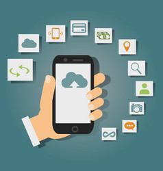 Concept of cloud services on mobile phone such as vector