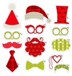 Christmas photobooth party set - glasses hats lips vector
