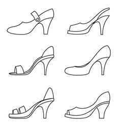 Set of outline high heels shoes vector