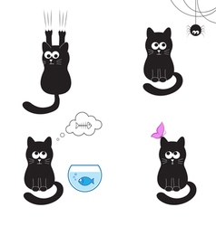 Black cat collection vector