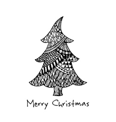 Greeting card with hand drawn christmas tree vector