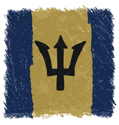 Flag of barbados handmade square shape vector