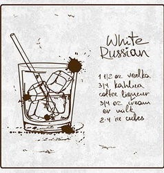 Hand drawn white russian cocktail vector