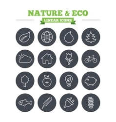 Nature and eco linear icons set thin outline vector