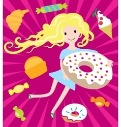 Girl dreams with big donut and tasty sweets vector