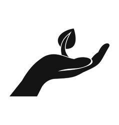 Sprout in hand simple icon vector