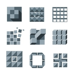 Cube square and pixel logo set creativity vector