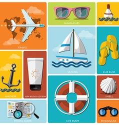 Summer and travel flat icon set vector