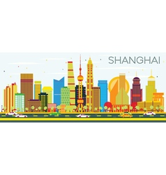 Abstract Shanghai Skyline with Color Buildings vector image