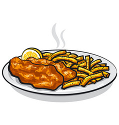 Battered fish and chips vector