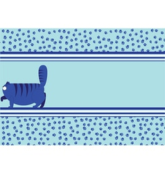 blue background with a fat cat vector image vector image