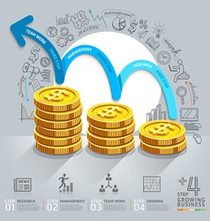 Business growth step infographics vector image vector image