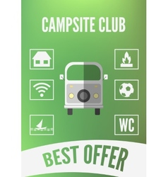 Campsite club promotion infographic with retro car vector image