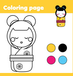 Coloring page with japanese kokeshi doll drawing vector