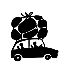 Family traveling by car with luggage vector