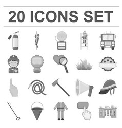 Fire department monochrome icons in set collection vector