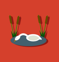 Flat icon design collection swan in the reeds in vector