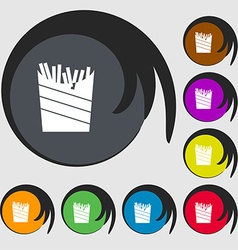 Fry icon sign symbols on eight colored buttons vector