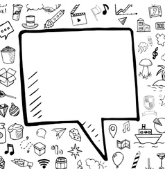 hand drawn bubble speech doodle vector image