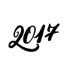Hand written lettering 2017 New Year vector image vector image