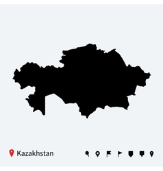 High detailed map of Kazakhstan with navigation vector image