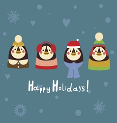 Holiday postcard with penguins family vector image