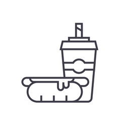 hot dog with coffee cupfast food line icon vector image vector image