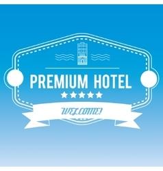 Hotel emblem on blurred background vector image
