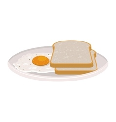 Image color of dish slices bread and egg vector